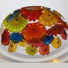 Large Ceiling Decor Light Multi Color Italian Style Murano Glass Flush Mounted Art Plate Flower Lighting