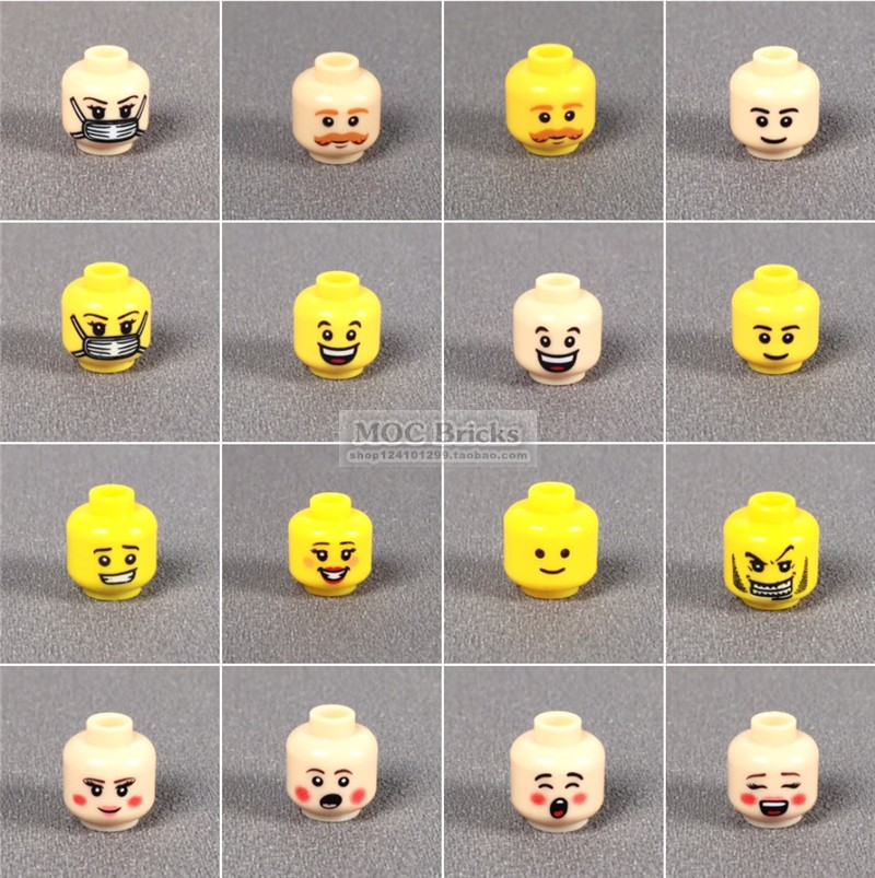 City Figures Body Parts Head Accessories Friends Girls Boys Face Phiz Ninja Soldier Head Expression DIY Blocks MOC Bricks Toys