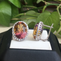 CSJ Big Stone Ametrine quartz Earring Sterling 925 Silver Concave Cut Oval12*16m Fine Jewelry Women Wedding Engagment Party gift