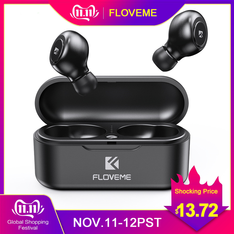 FLOVEME TWS Bluetooth 5.0 Earphone Handsfree Wireless Earphones 3D Stereo Sound Earbuds Game Sport Headset With Mic Charging Box