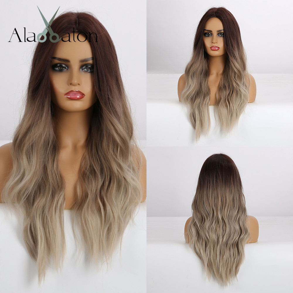 ALAN EATON Long Synthetic Wigs Heat Resistant Fiber Ombre Brown Gray Beige Hair Wigs Middle Part Natural Wave Hair Wig For Women