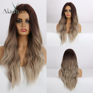 Image 1 - ALAN EATON Long Synthetic Wigs Heat Resistant Fiber Ombre Brown Gray Beige Hair Wigs Middle Part Natural Wave Hair Wig for Women