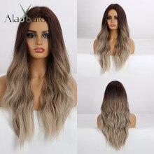 ALAN EATON uzun sentetik peruk ısıya dayanıklı iplik Ombre kahverengi gri bej saç peruk orta kısmı doğal dalga saç peruk kadınlar için