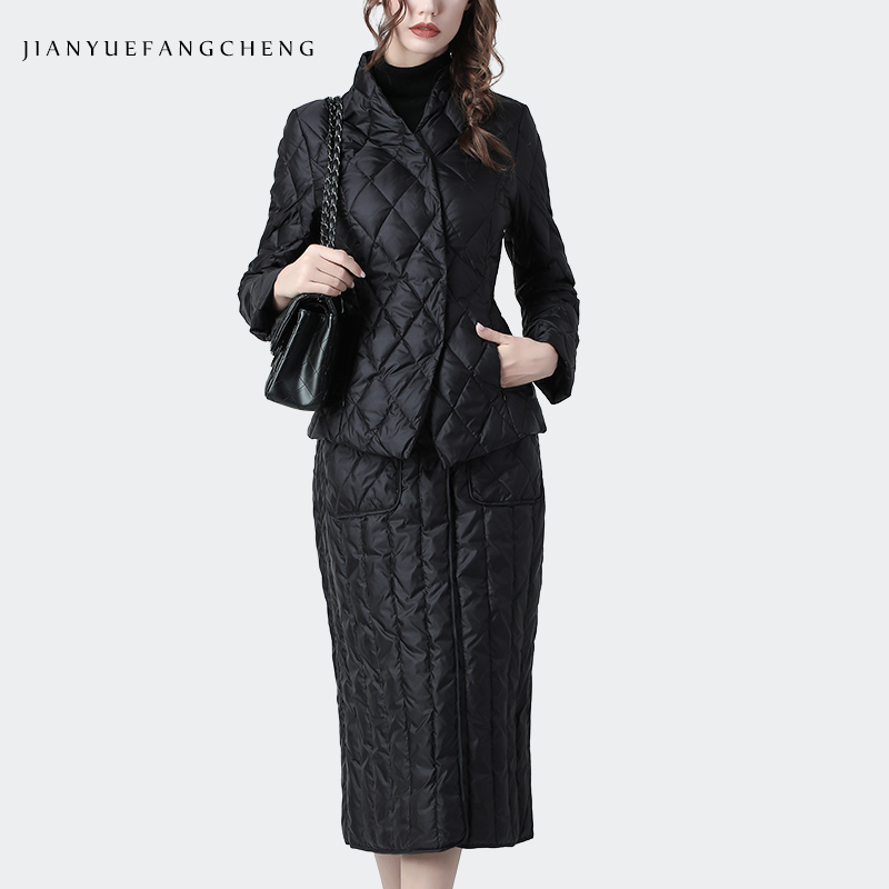 Women 2 Piece Set Jacket And Skirt Winter Plus Size Thicken Warm Black Duck Down 2 Piece Set Womens Outfits Ladies Clothing