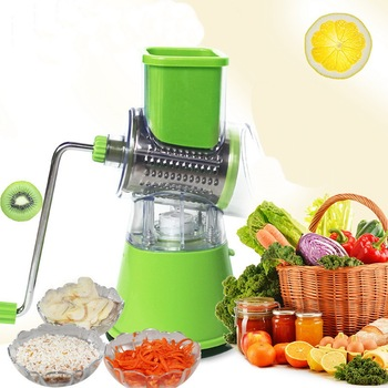 Round Slicer Vegetable Cutter Chopper Potato Carrot Grater Slicer with 3 Stainless Steel Blades Kitchen Tool