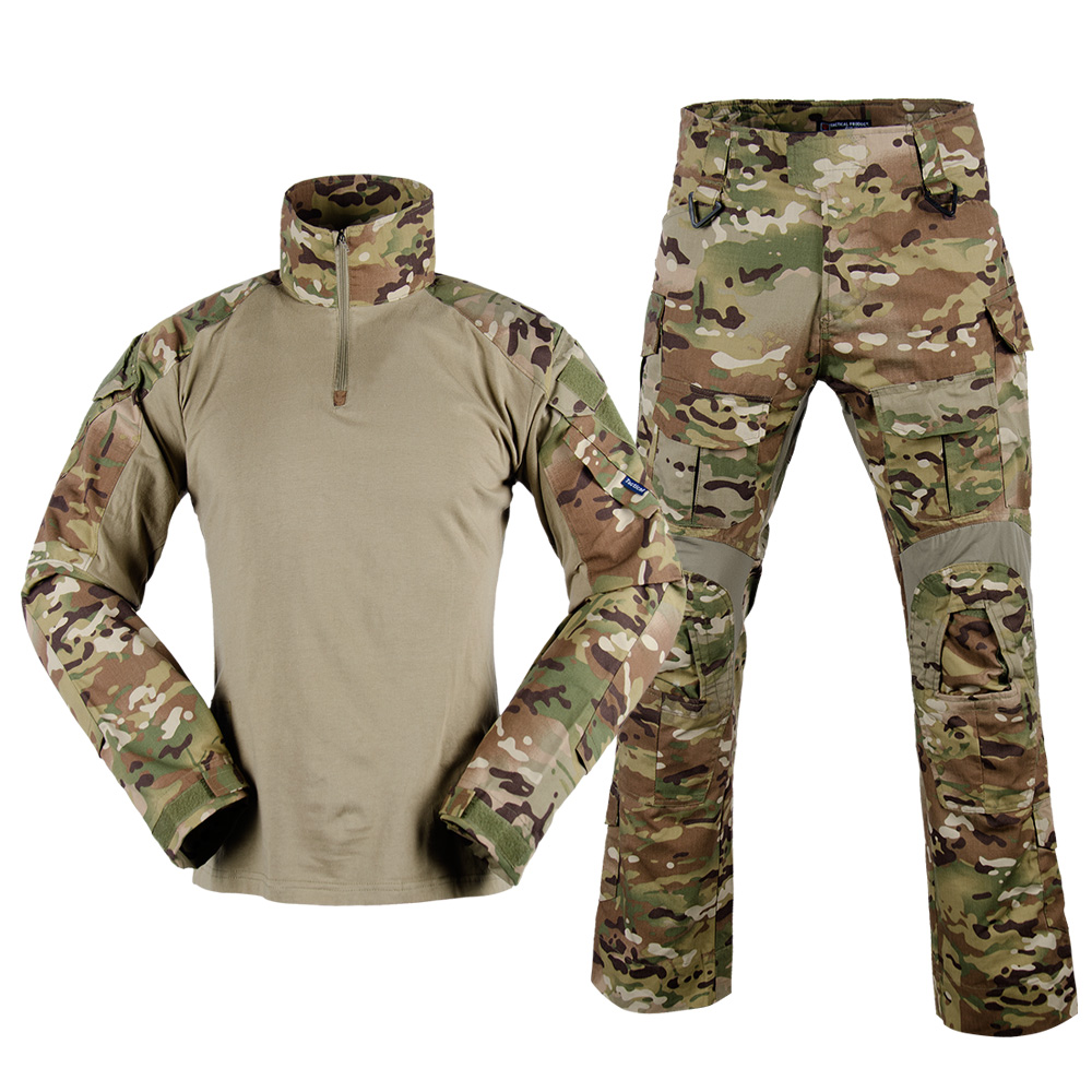 Airsoft BDU Gen3 savaş üniforma EMERSON taktik gömlek ve pantolon diz pedleri Multicam EM8567 EM8527