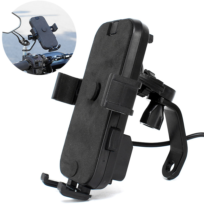 Bicycle Phone Holder Bike Motorcycle Phone Holder 360 Rotatable Handlebar  Rearview Mirror Mobile Cell Phone Stand Holder