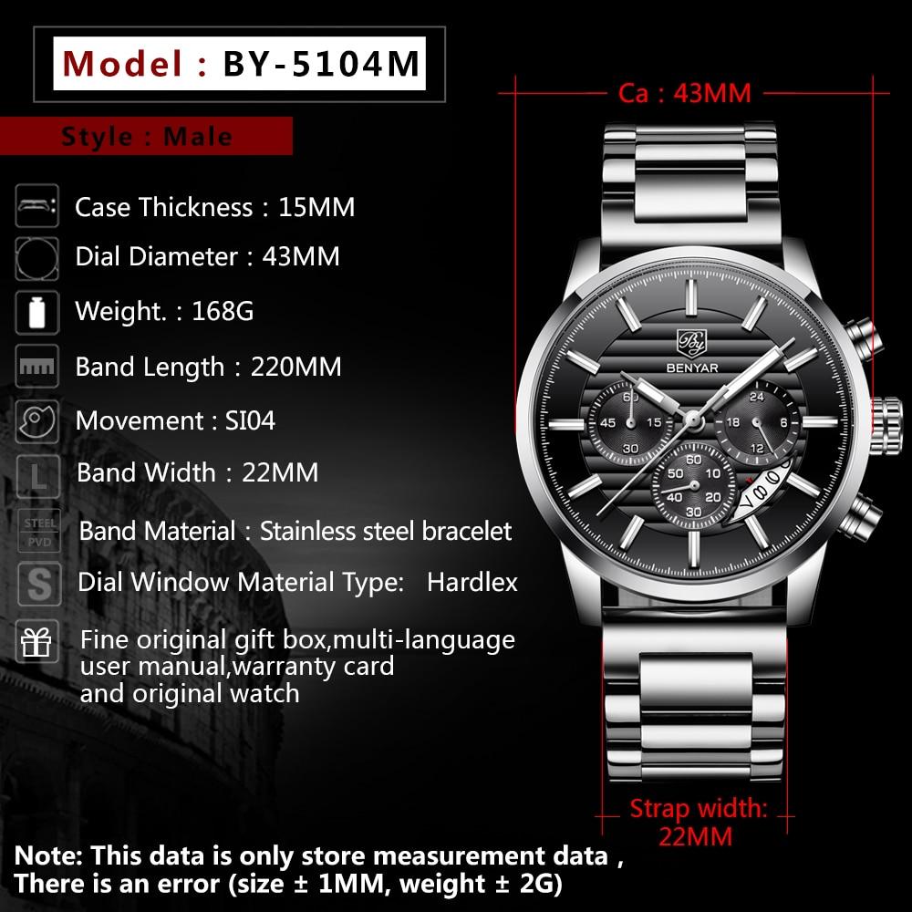 2019 Men's Watches Fashion Sport Chronograph BENYAR Top Luxury Brand Waterproof Male Clock Men Steel Clock Relogio Masculino