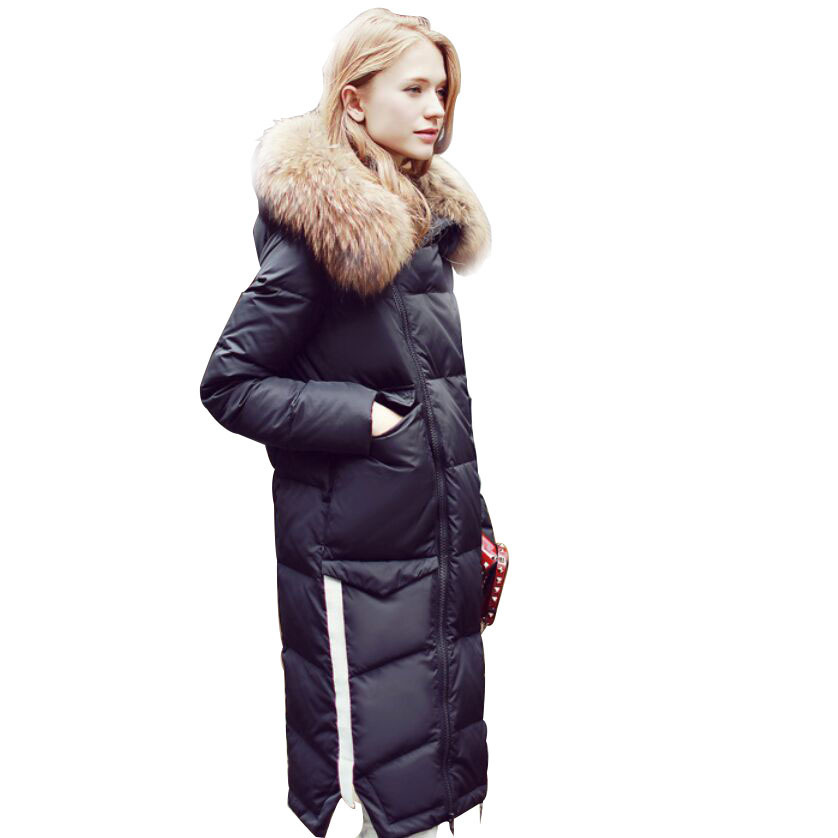 Women's Winter Down Jacket Long Duck Down Coat Female Puffer Jacket Big Raccoon Fur Collar Jackets Coats YY-005 KJ3038