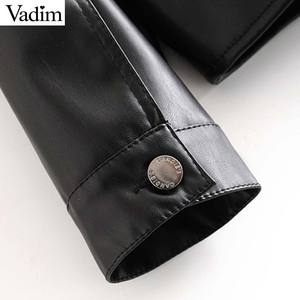 Image 3 - Vadim women chic black PU leather blouse pocket decorate long sleeve turn down collar shirt female stylish casual tops LB573