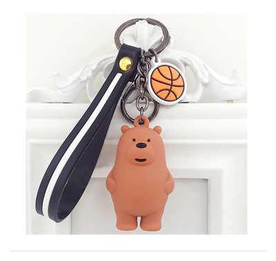 نحن العارية الدببة دمية المفاتيح الكرتون أنيمي المعلقات الاكريليك سلسلة مفاتيح للنساء الاطفال موضة الحيوان سلسلة الحلي لمفتاح السيارة