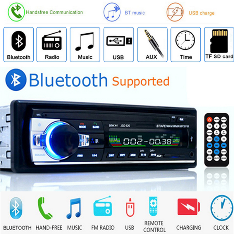 Auto radio JSD520 Car Radio Stereo Player Digital Bluetooth MP3 60Wx4 FM Audio with In Dash AUX Input car audio autoradio image