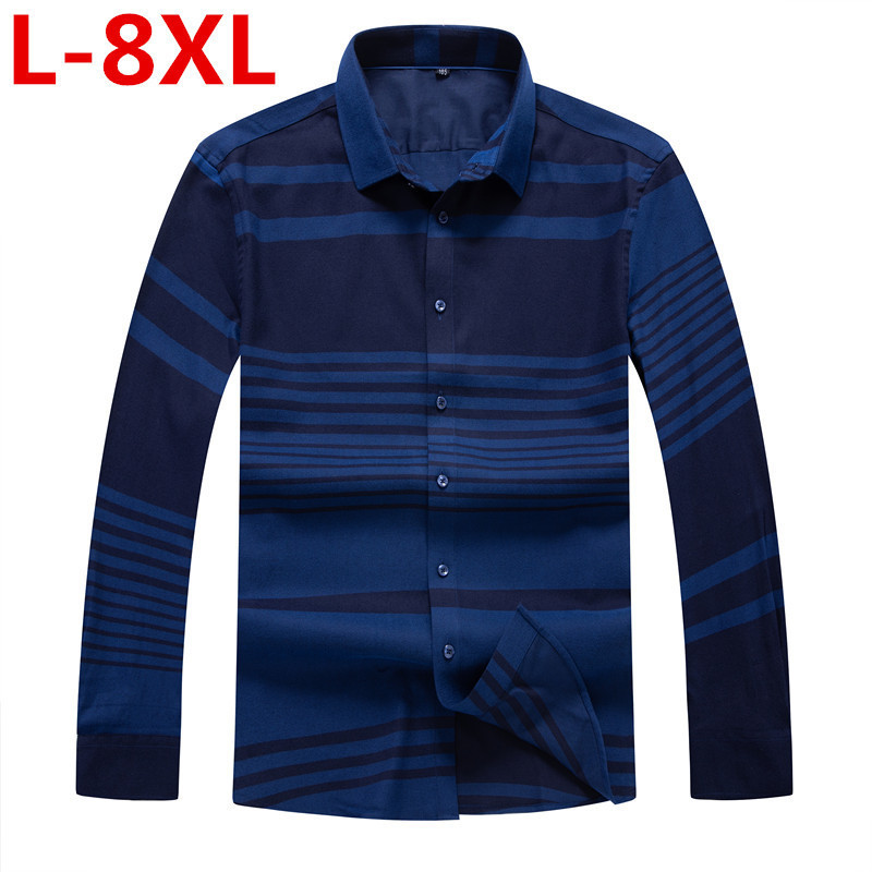 Autumn Winter 8XL Plus Size Men Dress Shirts Brand Clothing Fashion Camisa Social Casual Men Shirt Slim Long-Sleeve Masculina