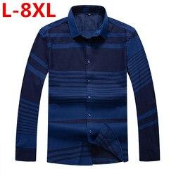 Otoño Invierno 8XL de talla grande camisas de vestir para hombres ropa de marca moda Camisa Social Casual para hombres Camisa delgada de manga larga Masculina