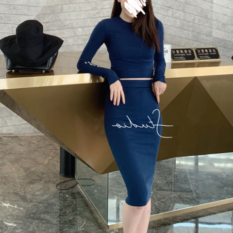 Women sweater suit and sets Casual Autumn Winter two pieces set Bodycon Tracksuit Casual female Knitted  Suit Set For Female Lahore