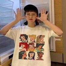 Модная футболка для мужчин и женщин с изображением героев Диснея, Белоснежка, сказка, Мулан, Алиса, мультяшный принт, женская футболка, милая...