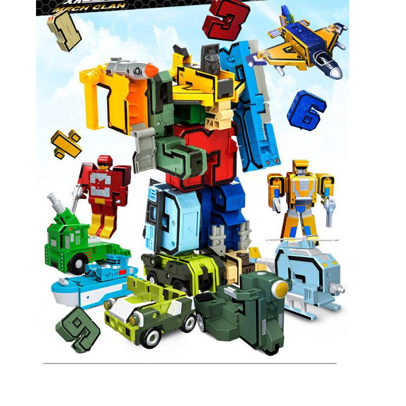 10 Pcs Cool Number Transforming Robot 3D Military Vehicles Models Jigsaw Plastic Puzzle Kids Educational Toys Children Gift