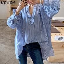 VONDA-camisas de manga larga de oficina para mujer, blusas bohemias estampadas Vintage a rayas, ropa de calle 5XL, verano y primavera