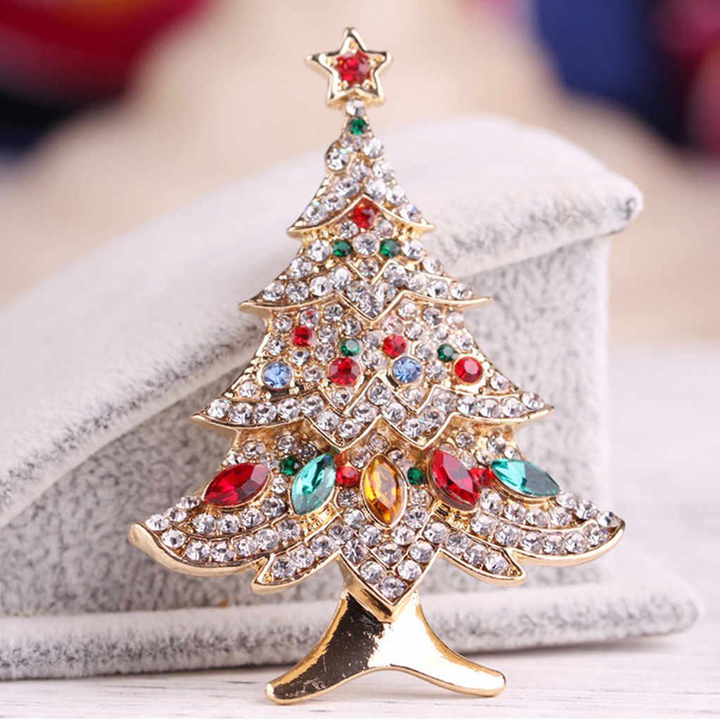 女性ブローチクリスマスツリー金属ブローチファッションスカーフクリップクリスマスギフトパーティー結婚式エレガントブローチ броши для женщин