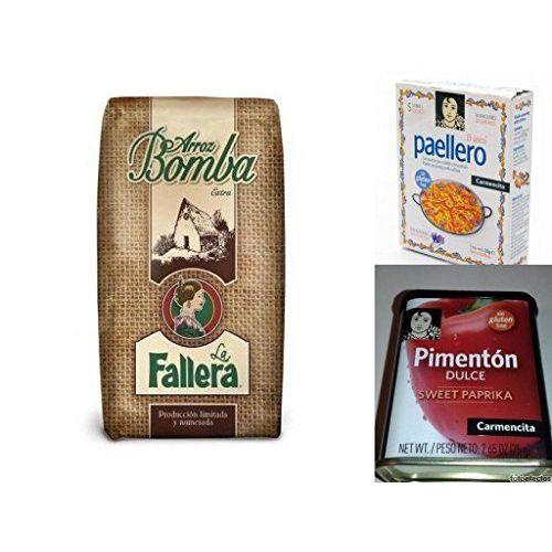 Lot 500gr. Rice Bomba La Fallera + Carmencita Paella Seasoning 5 Sachets (4x5gr) + 75gr Smoked Paprika (Sweet)