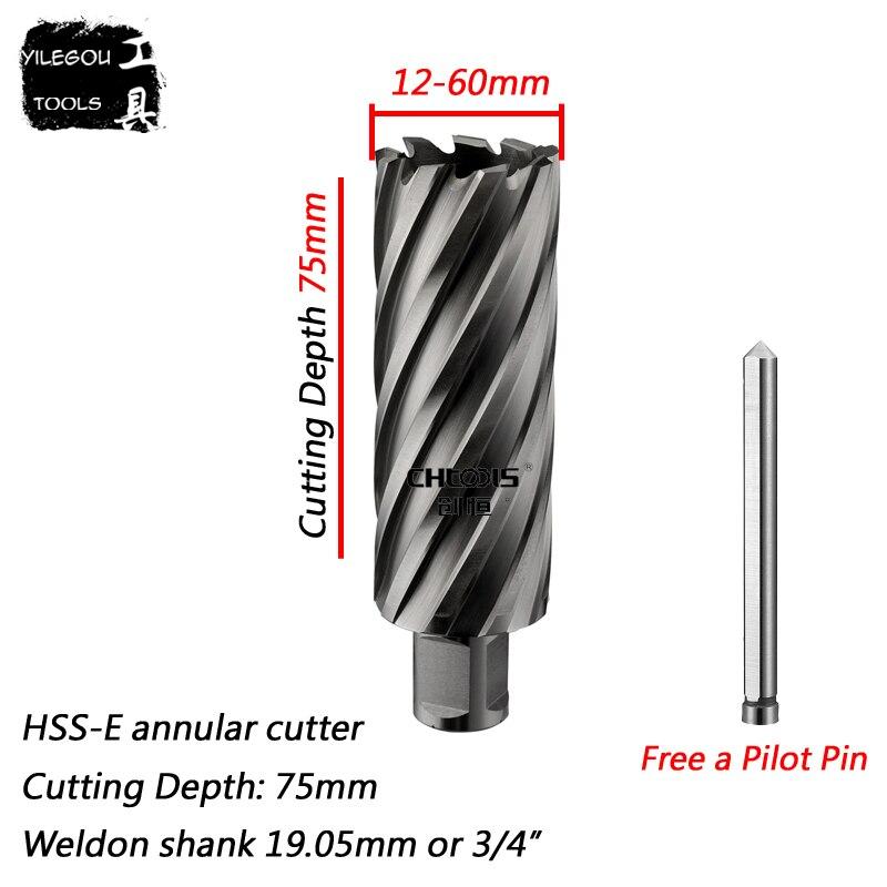 Diameter 18-60mm X 75mm HSS-E Annular Cutter With 3/4