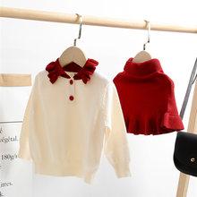 Модный комплект одежды для маленьких девочек осенне зимний вязаный