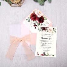 50 قطعة دعوات زفاف لون عنابي مع مغلف زهرة ، الشريط لحفل الزفاف