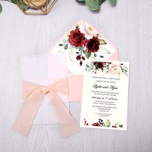Image 1 - 50pcs Wedding Invitations Burgundy Color with Flower Envelope, Ribbon for Wedding