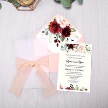 50pcs 결혼식 초대장 부르고뉴 색상 꽃 봉투, 결혼식을위한 리본