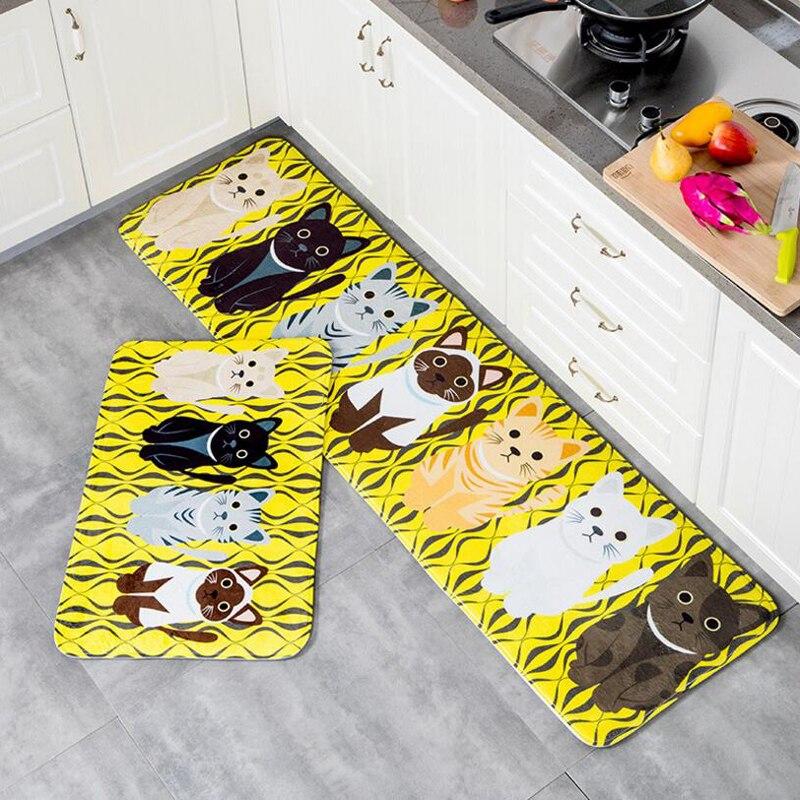 Felpudo de bienvenida Kawaii con estampado de gato, alfombra antideslizante para baño y cocina, para sala de estar
