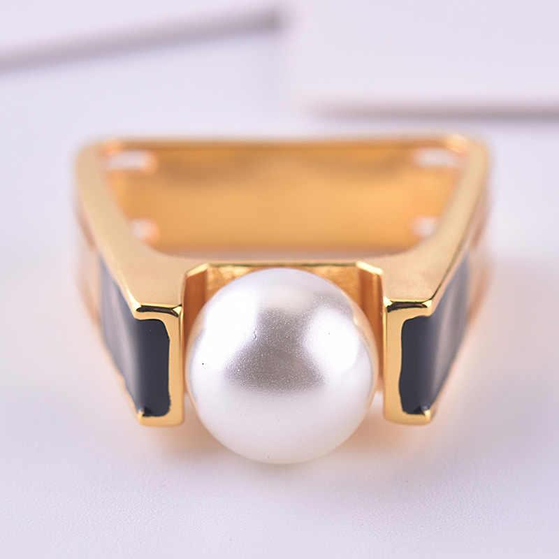 14K Золотое жемчужное бриллиантовое кольцо для женщин мужчин квадратный Anillo Свадьба Bizuteria 14K золотые украшения с топазом Bizuteria модное кольцо с драгоценным камнем