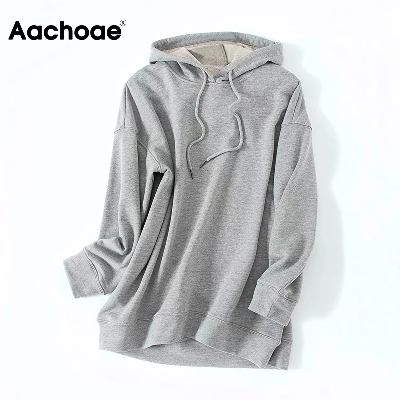 Aachoae Gray Color Casual Hooded Hoodies Women Loose Batwing Long Sleeve Sweatshirts Lady Soft Home Style Hoodie Autumn Spring 1