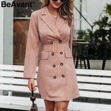 BeAvant エレガントなストライプオフィスレディースブレザードレス秋冬ダブルブレストの女性の労働ドレスハイウエスト女性ピンクドレス