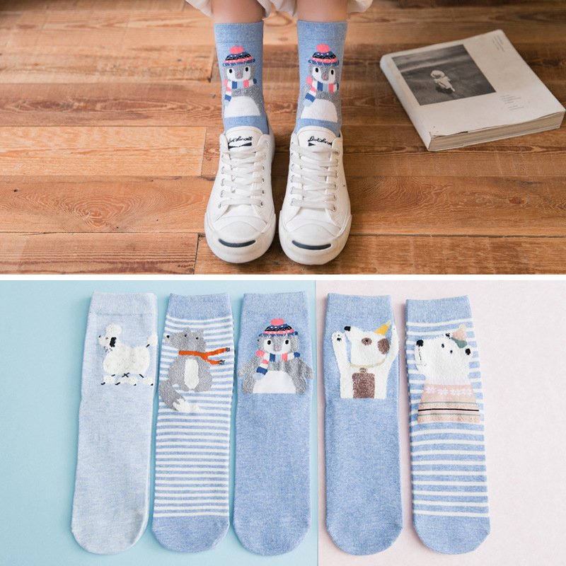 5 Pairs/lot Cute Socks Cartoon Animal Socks Women Long Socks Kawaii Fashion Girls Crew Socks Cotton Sock Set New Arrivals
