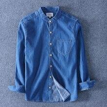 2019 Spring Men Long Sleeve Denim Shirt Soft 100 C