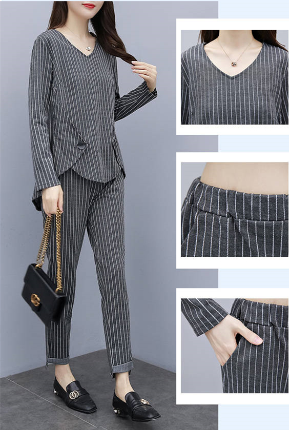 L-5xl Plus Size Striped Two Piece Sets Outfits Women Long Sleeve Tops And Pants Suits Casual Office Elegant Korean Matching Sets 34
