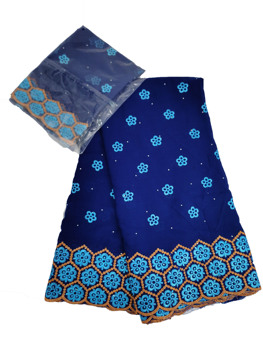 100% cotton 2020 African Bazin Riche Getzner Batik fabric royal blue bazin fabrics with stones for women clothes 5+2 yards