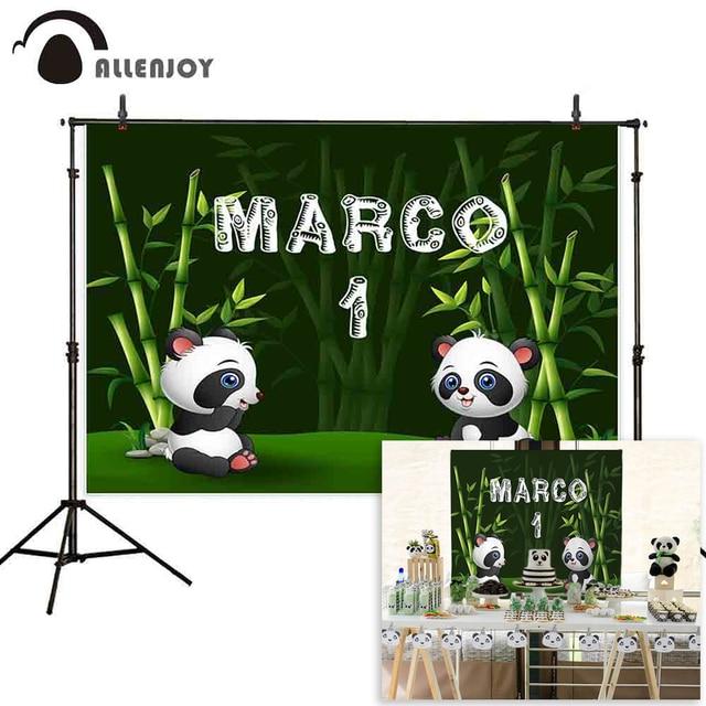 Allenjoy Fondo de fotografía de cumpleaños panda bosque de bambú, fondo personalizado para estudio fotográfico, utilería para sesión fotográfica, fotofono, decoración para sesión fotográfica