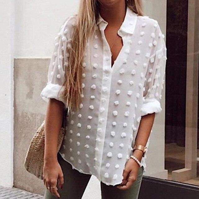 Womens Tops Blouses Elegant Long Sleeve See-through Sheer Mesh Polka Dot Loose OL Shirt Ladies Chiffon Blouse Summer blusa 4