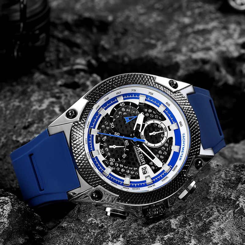 MEGIR hommes Sport montre Relogio Masculino bleu Silicone bracelet hommes montres haut de gamme marque de luxe lumineux étanche Quartz montre homme