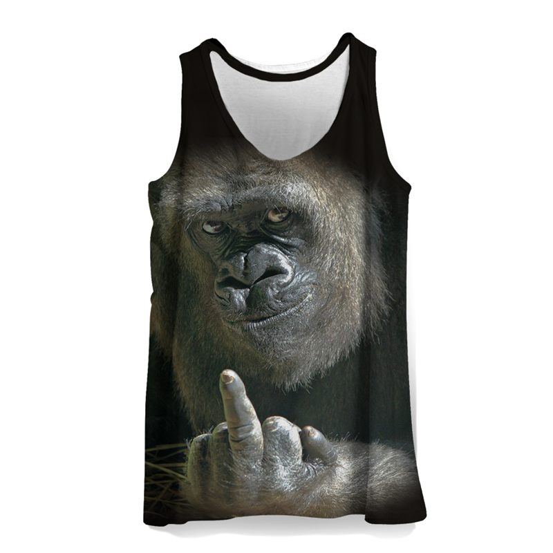 3D Monkey Tank Tops Men Sleeveless Summer Clothing Fitness Boys Bodybuilding Sports Vest Mens Animal Print Beach Tank Top