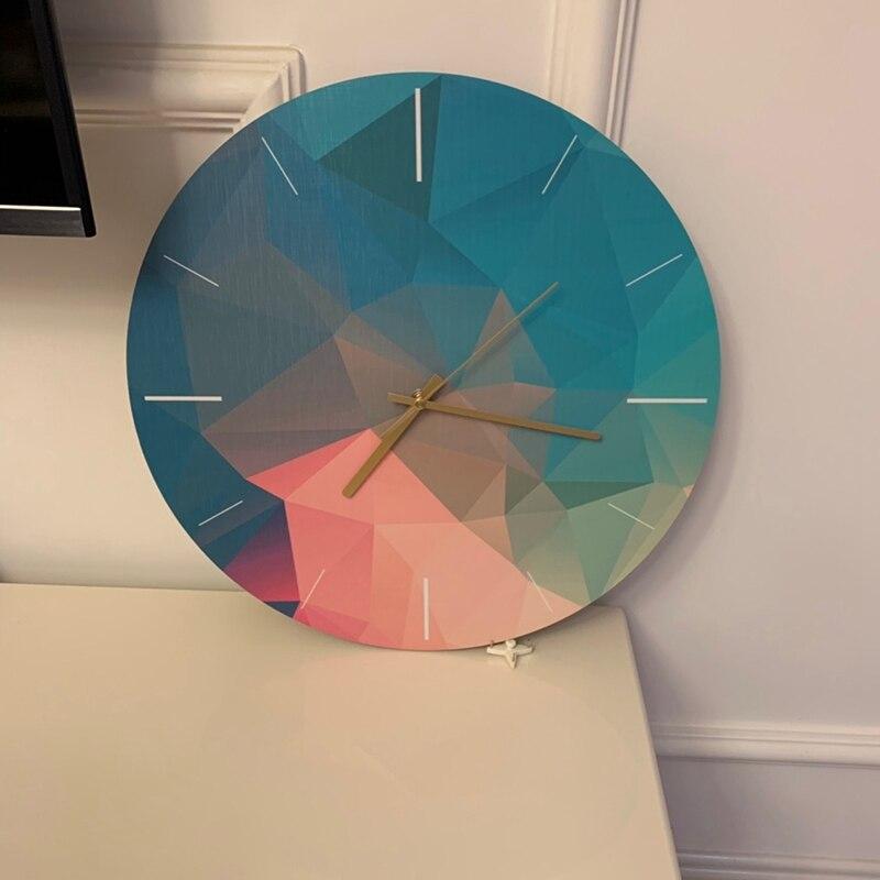 Mode-16 pouces coloré créatif horloge murale en bois décoration de la maison horloge murale moderne mode silencieux en métal horloge ronde