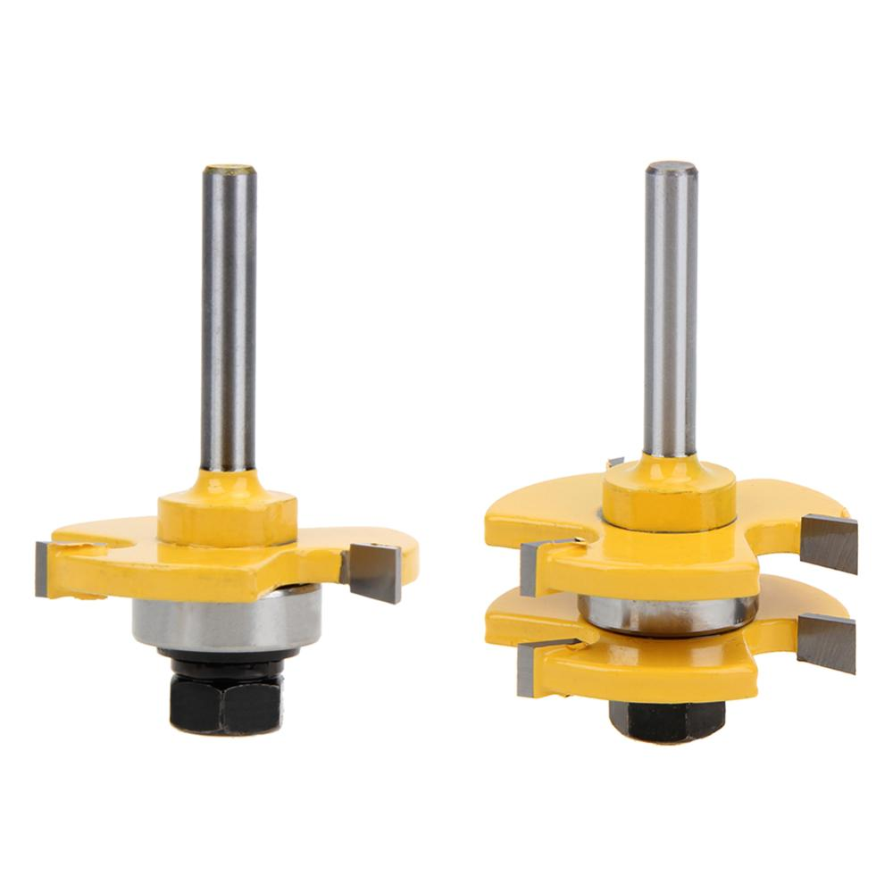 2 pc Shank high quality Tongue & Groove Joint Assembly Router Bit Set Stock Wood Cutting Tool