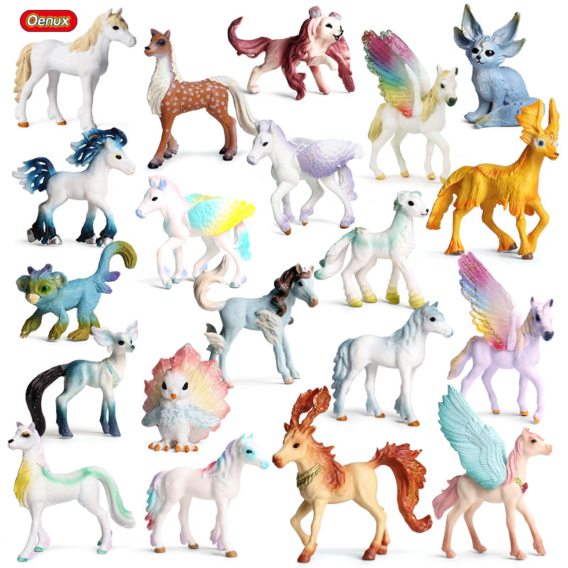 Oenux Lovely Mythical Elves Fairy Tale Animals Model Action Figures Original Elf Fly Horse Figurines PVC Collection Toy For Kids