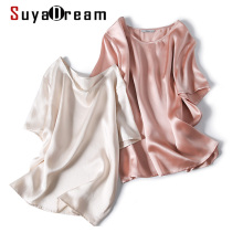 SuyaDream White Satin Blouse Women 100% Silk Short Sleeves O neck Office
