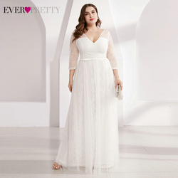 Plus Size Kant Trouwjurken Ever Pretty EP00806WH A-lijn V-hals 3/4 Mouwen Lovertjes Tulle Elegant Bride Robe De Mariee