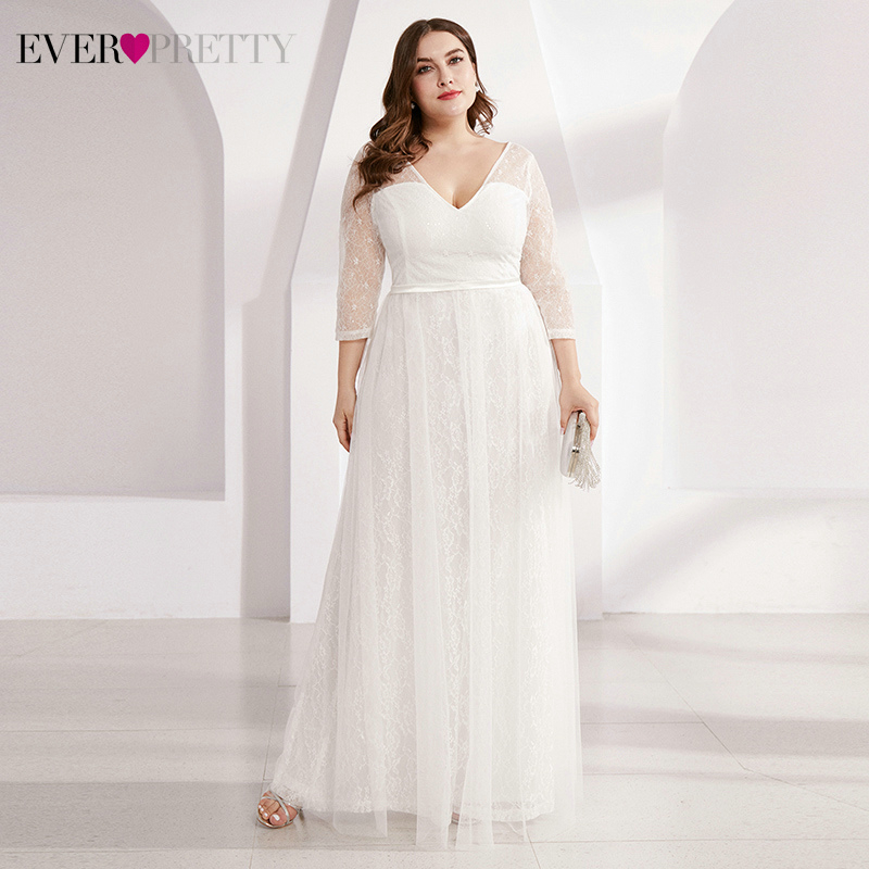 Plus Size Lace Wedding Dresses Ever Pretty EP00806WH A-Line V-Neck 3/4 Sleeve Sequined Tulle Elegant Bride Gowns Robe De Mariee