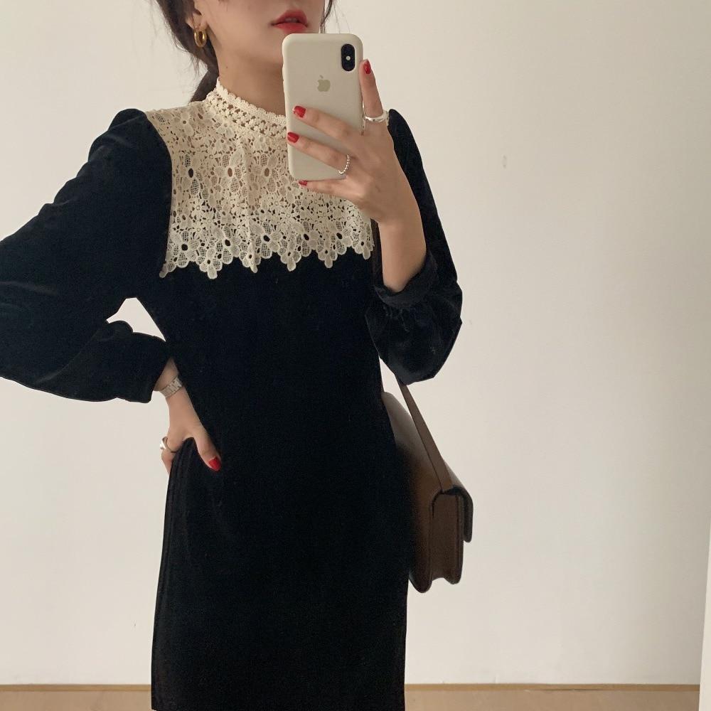 H01500406e5f947baa4657c751022babeJ - Autumn / Winter Korean O-Neck Long Sleeves Lace Patchwork Midi Dress