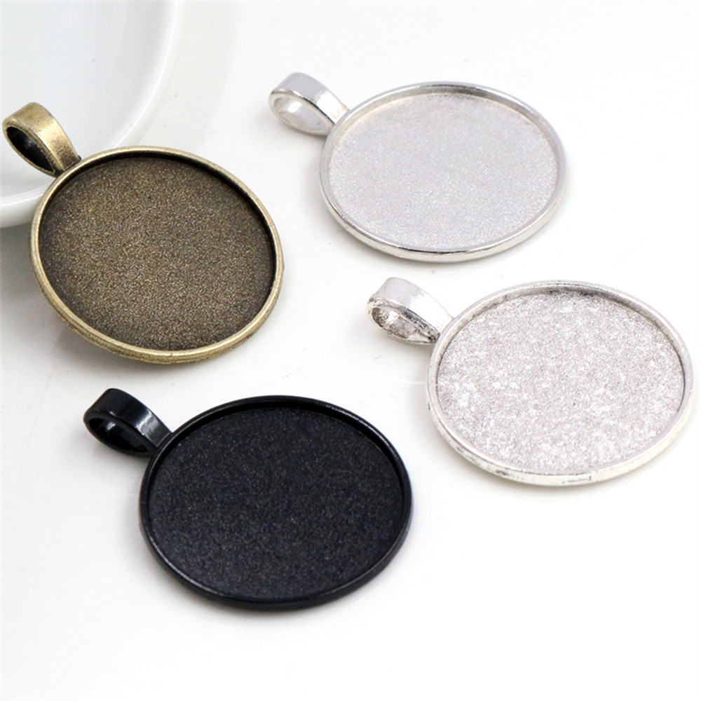 New Fashion 10pcs 25mm Inner Size 4 Colors Plated Classic Simple Style Cabochon Base Setting Charms Pendant
