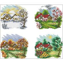 Четыре сезона коттедж (четыре картины) вышивка крестиком 11ct